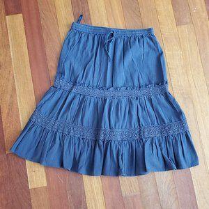 Banana Republic Navy Blue Ruffled A-Line Skirt 4